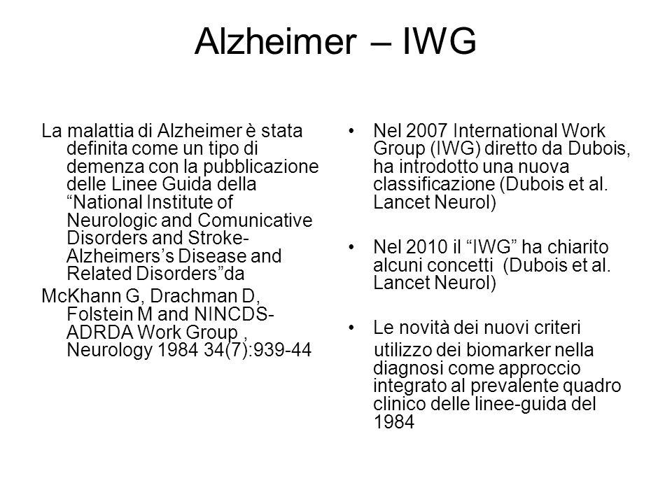 """Alzheimer – IWG La malattia di Alzheimer è stata definita come un tipo di demenza con la pubblicazione delle Linee Guida della """"National Institute of"""
