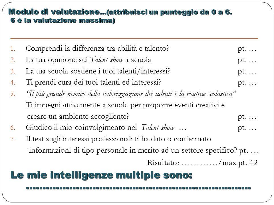 Modulo di valutazione …(attribuisci un punteggio da 0 a 6.