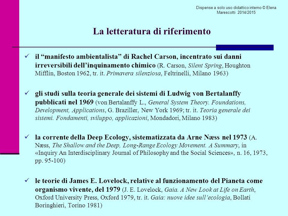 La letteratura di riferimento il manifesto ambientalista di Rachel Carson, incentrato sui danni irreversibili dell'inquinamento chimico (R.