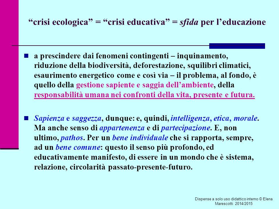 crisi ecologica = crisi educativa = sfida per l'educazione a prescindere dai fenomeni contingenti – inquinamento, riduzione della biodiversità, deforestazione, squilibri climatici, esaurimento energetico come e così via – il problema, al fondo, è quello della gestione sapiente e saggia dell'ambiente, della responsabilità umana nei confronti della vita, presente e futura.