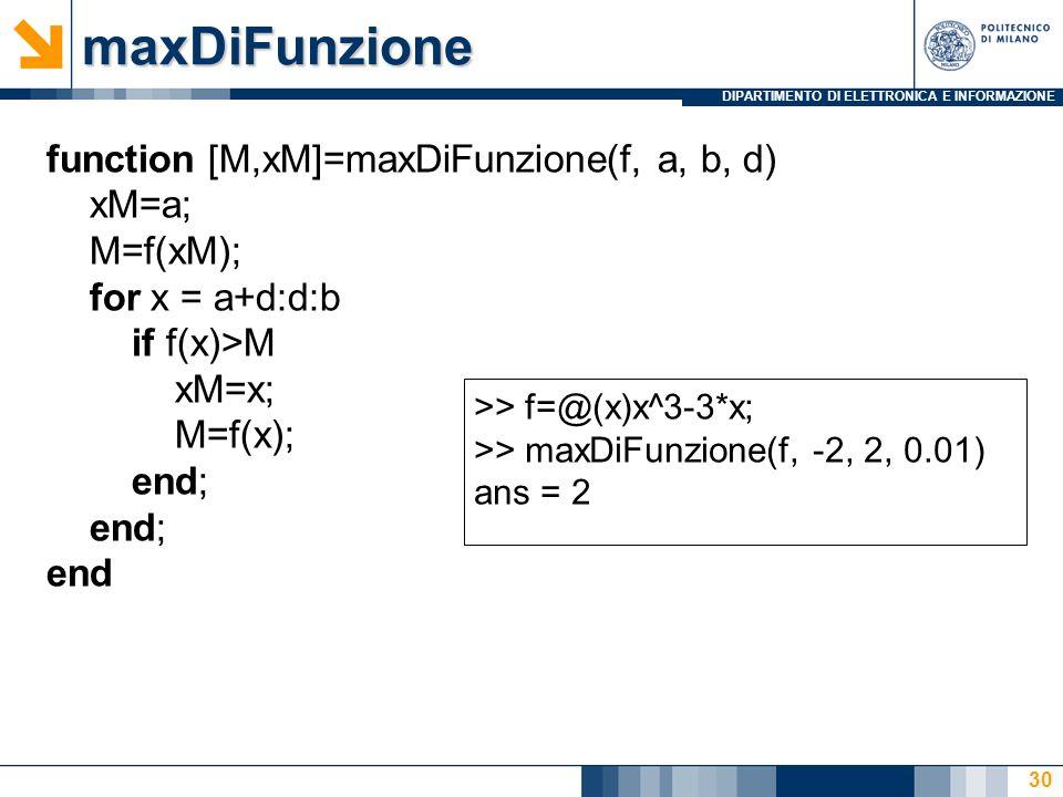 DIPARTIMENTO DI ELETTRONICA E INFORMAZIONEmaxDiFunzione 30 function [M,xM]=maxDiFunzione(f, a, b, d) xM=a; M=f(xM); for x = a+d:d:b if f(x)>M xM=x; M=