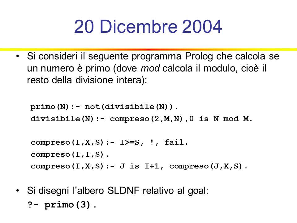 20 Dicembre 2004 Si consideri il seguente programma Prolog che calcola se un numero è primo (dove mod calcola il modulo, cioè il resto della divisione intera): primo(N):- not(divisibile(N)).