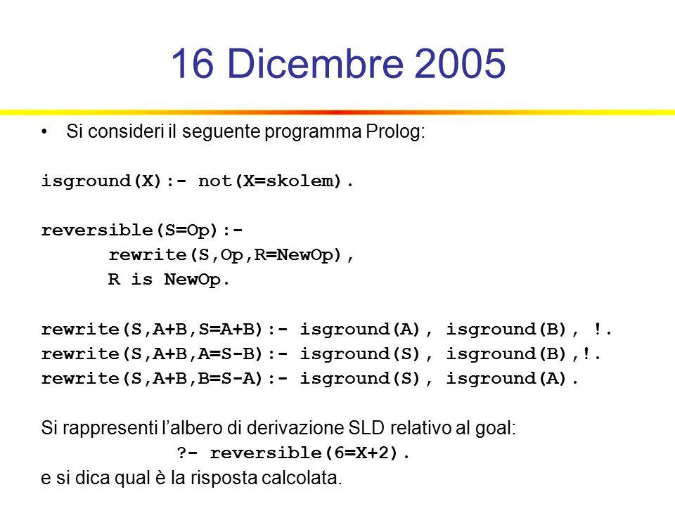 16 Dicembre 2005 Si consideri il seguente programma Prolog: isground(X):- not(X=skolem).