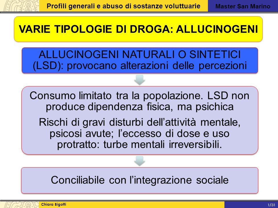 Master San Marino Profili generali e abuso di sostanze voluttuarie Chiara Bigotti 1/31 VARIE TIPOLOGIE DI DROGA: ALLUCINOGENI ALLUCINOGENI NATURALI O SINTETICI (LSD): provocano alterazioni delle percezioni Consumo limitato tra la popolazione.