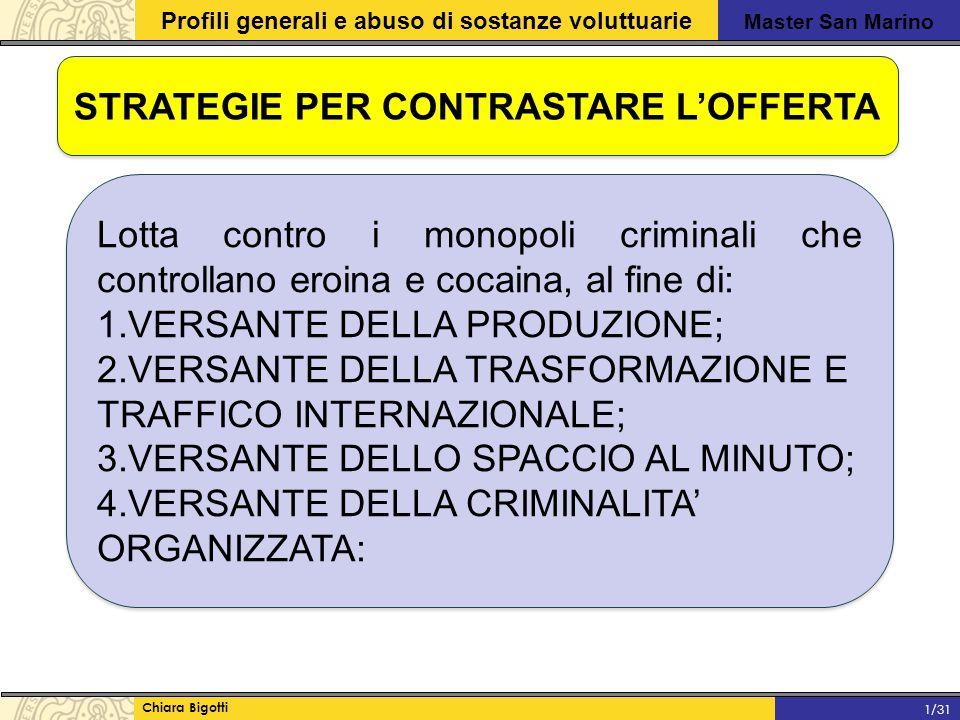 Master San Marino Profili generali e abuso di sostanze voluttuarie Chiara Bigotti 1/31 STRATEGIE PER CONTRASTARE L'OFFERTA Lotta contro i monopoli criminali che controllano eroina e cocaina, al fine di: 1.VERSANTE DELLA PRODUZIONE; 2.VERSANTE DELLA TRASFORMAZIONE E TRAFFICO INTERNAZIONALE; 3.VERSANTE DELLO SPACCIO AL MINUTO; 4.VERSANTE DELLA CRIMINALITA' ORGANIZZATA: Lotta contro i monopoli criminali che controllano eroina e cocaina, al fine di: 1.VERSANTE DELLA PRODUZIONE; 2.VERSANTE DELLA TRASFORMAZIONE E TRAFFICO INTERNAZIONALE; 3.VERSANTE DELLO SPACCIO AL MINUTO; 4.VERSANTE DELLA CRIMINALITA' ORGANIZZATA: