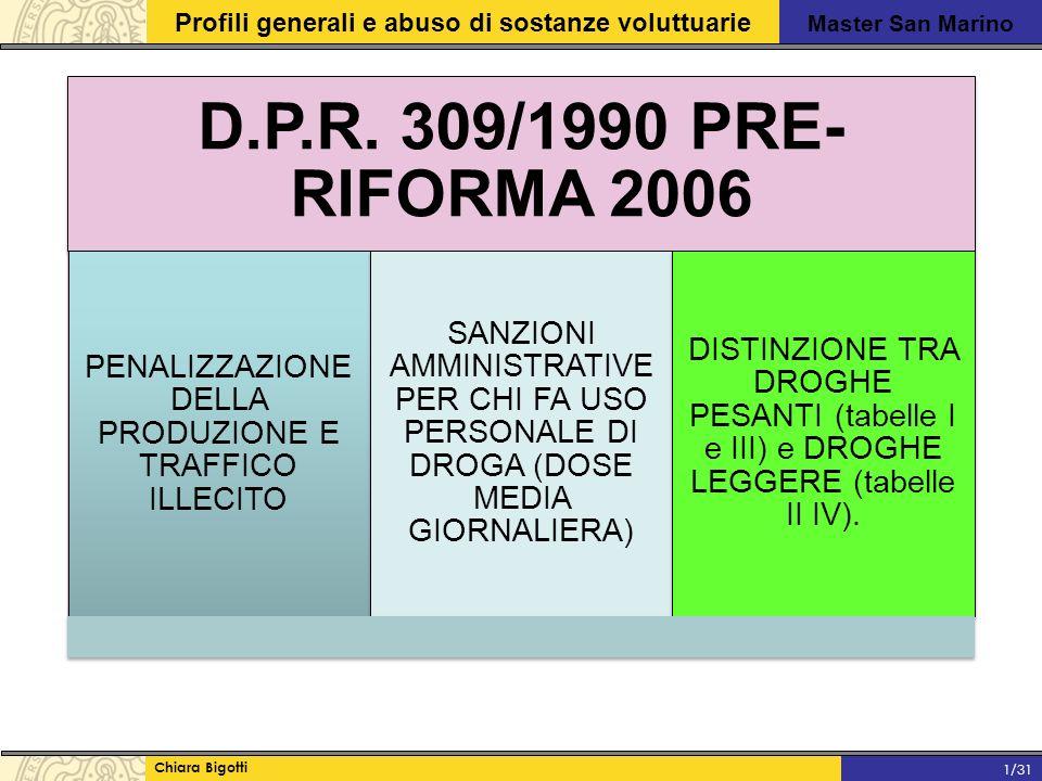 Master San Marino Profili generali e abuso di sostanze voluttuarie Chiara Bigotti 1/31 D.P.R.