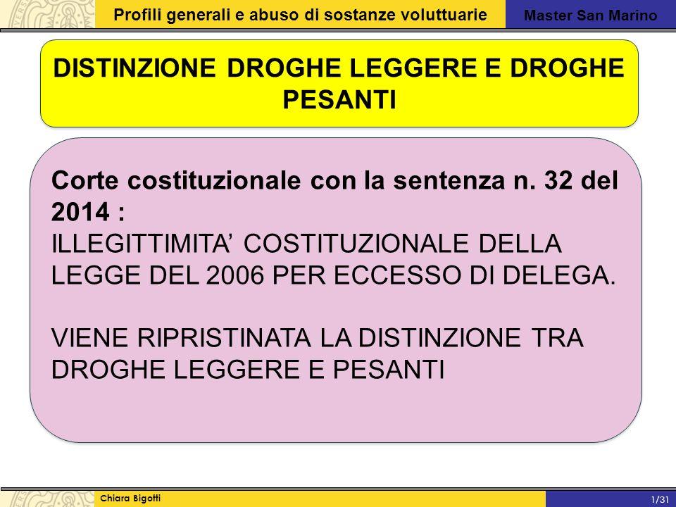 Master San Marino Profili generali e abuso di sostanze voluttuarie Chiara Bigotti 1/31 DISTINZIONE DROGHE LEGGERE E DROGHE PESANTI Corte costituzionale con la sentenza n.