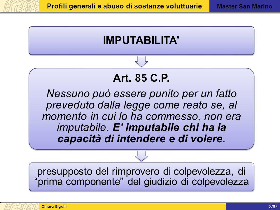 Master San Marino Profili generali e abuso di sostanze voluttuarie Chiara Bigotti 1/31 3/67 IMPUTABILITA' Art.
