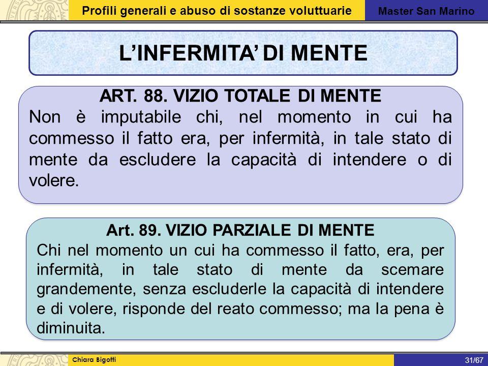 Master San Marino Profili generali e abuso di sostanze voluttuarie Chiara Bigotti 1/31 L'INFERMITA' DI MENTE 31/67 ART.