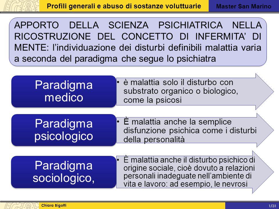 Master San Marino Profili generali e abuso di sostanze voluttuarie Chiara Bigotti 1/31 APPORTO DELLA SCIENZA PSICHIATRICA NELLA RICOSTRUZIONE DEL CONCETTO DI INFERMITA' DI MENTE: l'individuazione dei disturbi definibili malattia varia a seconda del paradigma che segue lo psichiatra è malattia solo il disturbo con substrato organico o biologico, come la psicosi Paradigma medico È malattia anche la semplice disfunzione psichica come i disturbi della personalità Paradigma psicologico È malattia anche il disturbo psichico di origine sociale, cioè dovuto a relazioni personali inadeguate nell'ambiente di vita e lavoro: ad esempio, le nevrosi Paradigma sociologico,