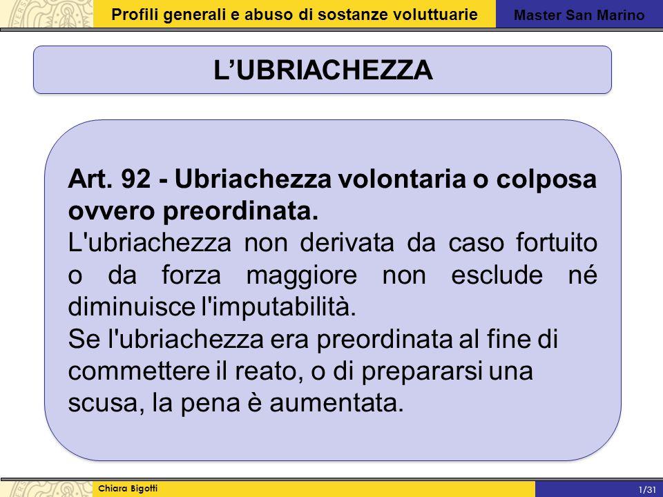 Master San Marino Profili generali e abuso di sostanze voluttuarie Chiara Bigotti 1/31 L'UBRIACHEZZA Art.