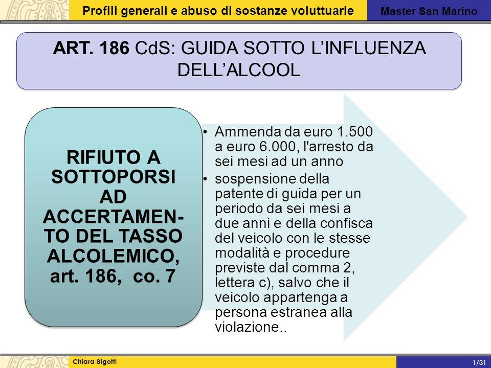 Master San Marino Profili generali e abuso di sostanze voluttuarie Chiara Bigotti 1/31 ART.