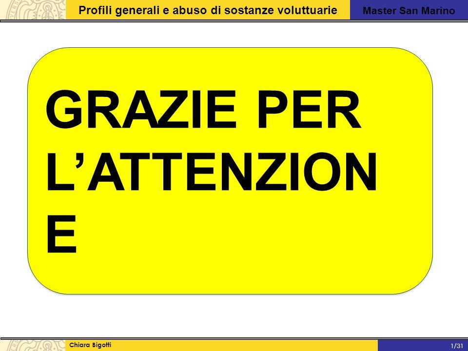 Master San Marino Profili generali e abuso di sostanze voluttuarie Chiara Bigotti 1/31 GRAZIE PER L'ATTENZION E