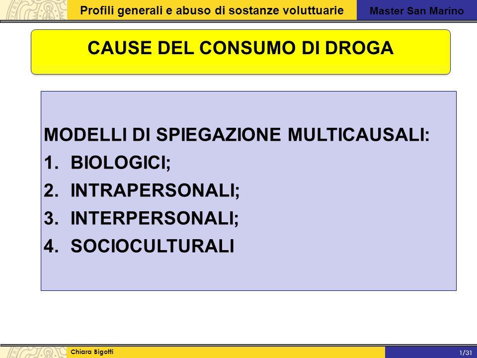 Master San Marino Profili generali e abuso di sostanze voluttuarie Chiara Bigotti 1/31 CAUSE DEL CONSUMO DI DROGA MODELLI DI SPIEGAZIONE MULTICAUSALI: 1.BIOLOGICI; 2.INTRAPERSONALI; 3.INTERPERSONALI; 4.SOCIOCULTURALI
