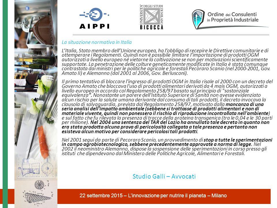La situazione normativa in Italia L'Italia, Stato membro dell'Unione europea, ha l'obbligo di recepire le Direttive comunitarie e di ottemperare i Reg