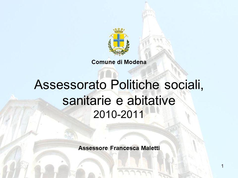 1 Assessorato Politiche sociali, sanitarie e abitative 2010-2011 Comune di Modena Assessore Francesca Maletti
