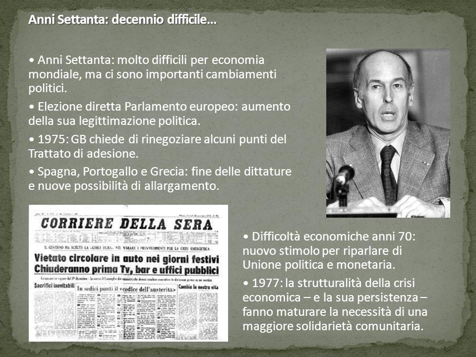 Anni Settanta: decennio difficile… Anni Settanta: molto difficili per economia mondiale, ma ci sono importanti cambiamenti politici.