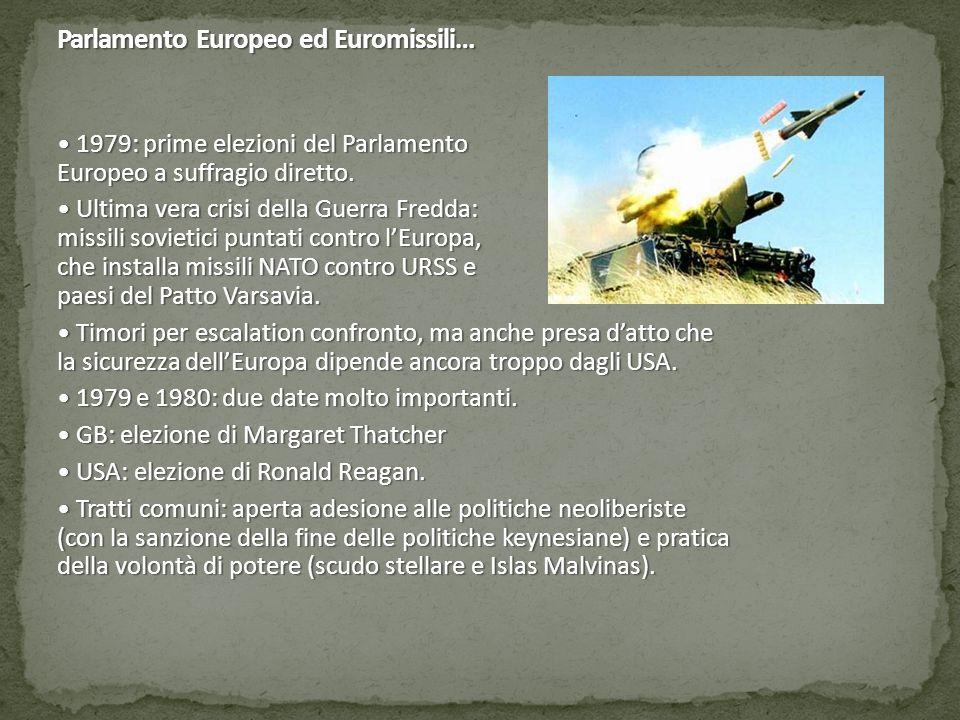 Parlamento Europeo ed Euromissili… 1979: prime elezioni del Parlamento Europeo a suffragio diretto.