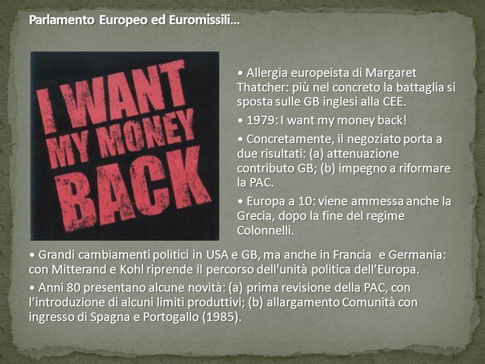 Parlamento Europeo ed Euromissili… Allergia europeista di Margaret Thatcher: più nel concreto la battaglia si sposta sulle GB inglesi alla CEE. Allerg