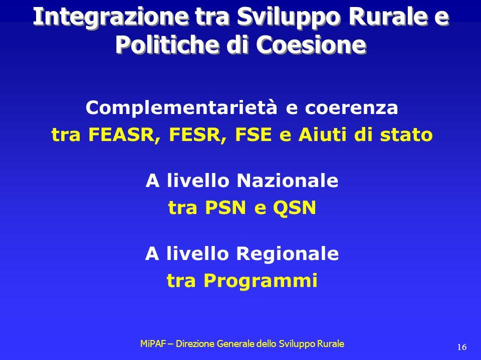 MiPAF – Direzione Generale dello Sviluppo Rurale 16 Complementarietà e coerenza tra FEASR, FESR, FSE e Aiuti di stato A livello Nazionale tra PSN e QSN A livello Regionale tra Programmi Integrazione tra Sviluppo Rurale e Politiche di Coesione