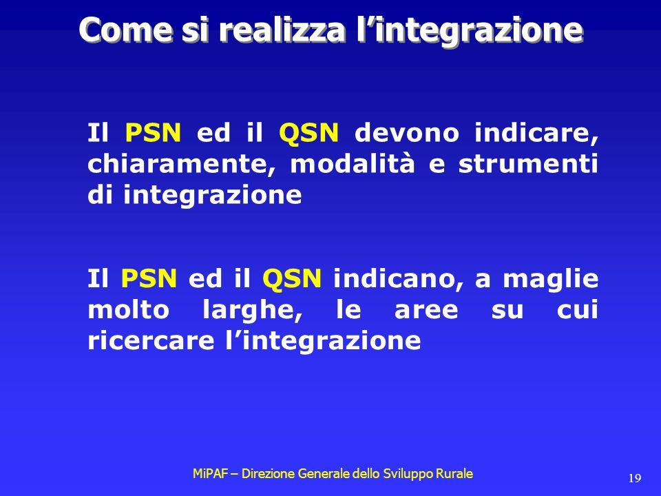 MiPAF – Direzione Generale dello Sviluppo Rurale 19 Il PSN ed il QSN devono indicare, chiaramente, modalità e strumenti di integrazione Come si realizza l'integrazione Il PSN ed il QSN indicano, a maglie molto larghe, le aree su cui ricercare l'integrazione