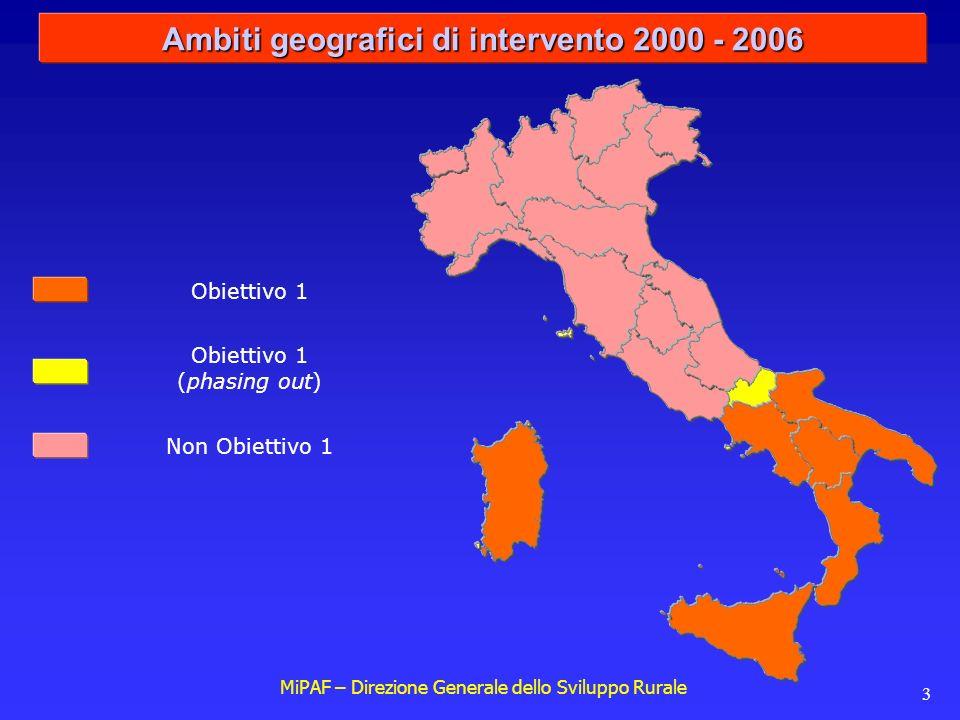 MiPAF – Direzione Generale dello Sviluppo Rurale 3 Ambiti geografici di intervento 2000 - 2006 Obiettivo 1 (phasing out) Non Obiettivo 1