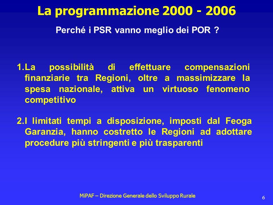 MiPAF – Direzione Generale dello Sviluppo Rurale 6 La programmazione 2000 - 2006 Perché i PSR vanno meglio dei POR .