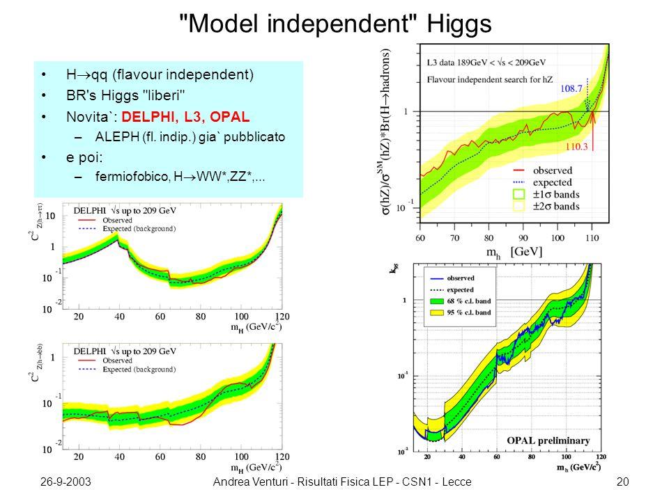 26-9-2003Andrea Venturi - Risultati Fisica LEP - CSN1 - Lecce20 Model independent Higgs H  qq (flavour independent) BR s Higgs liberi Novita`: DELPHI, L3, OPAL –ALEPH (fl.
