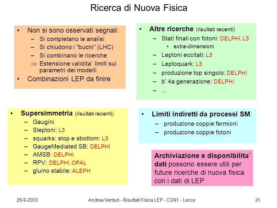 26-9-2003Andrea Venturi - Risultati Fisica LEP - CSN1 - Lecce21 Ricerca di Nuova Fisica Supersimmetria (risultati recenti) –Gaugini –Sleptoni: L3 –squarks: stop e sbottom: L3 –GaugeMediated SB: DELPHI –AMSB: DELPHI –RPV: DELPHI, OPAL –gluino stabile: ALEPH Non si sono osservati segnali: –Si completano le analisi –Si chiudono i buchi (LHC) –Si combinano le ricerche  Estensione validita` limiti sui parametri dei modelli Combinazioni LEP da finire Altre ricerche (risultati recenti) –Stati finali con fotoni: DELPHI, L3 extra-dimensioni –Leptoni eccitati: L3 –Leptoquark: L3 –produzione top singolo: DELPHI –b 4a generazione: DELPHI –...