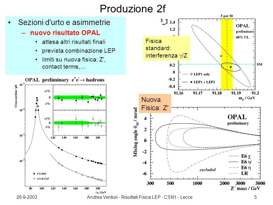 26-9-2003Andrea Venturi - Risultati Fisica LEP - CSN1 - Lecce6 Produzione WW Risultati ~finali: –DELPHI –ALEPH, L3 (non ancora combinati) Precisione: ~1% Necessario calcolo O  (sez.