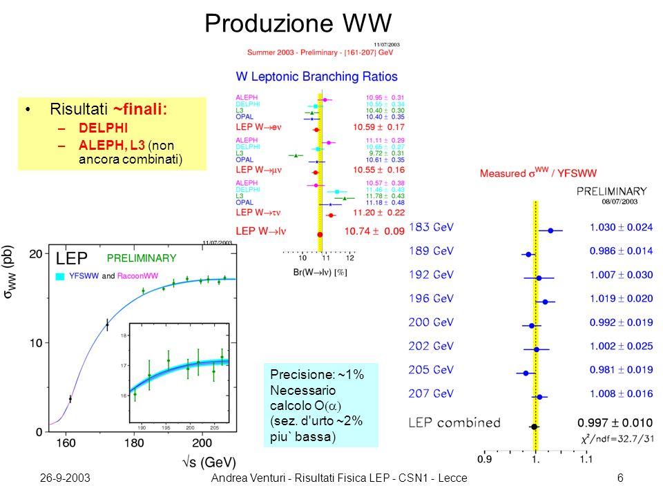 26-9-2003Andrea Venturi - Risultati Fisica LEP - CSN1 - Lecce17 Fisica interazioni due fotoni Lunga lista di nuovi risultati: –  jets (L3, OPAL) –  , KK (ALEPH) –  , , pp, K s K s (L3) –   (DELPHI, L3) –   X (OPAL) –  bb e cc (DELPHI) –   b,  c (L3, DELPHI) –  D*X (ALEPH) DELPHI: misura produzione cc e bb con i leptoni –conferma la discrepanza nella produzione bb produzione diretta e risolta