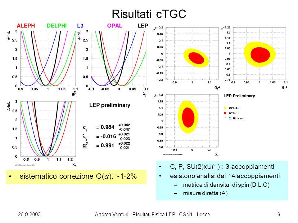 26-9-2003Andrea Venturi - Risultati Fisica LEP - CSN1 - Lecce9 Risultati cTGC sistematico correzione O(  ): ~1-2% C, P, SU(2)xU(1) : 3 accoppiamenti esistono analisi dei 14 accoppiamenti: –matrice di densita` di spin (D,L,O) –misura diretta (A)