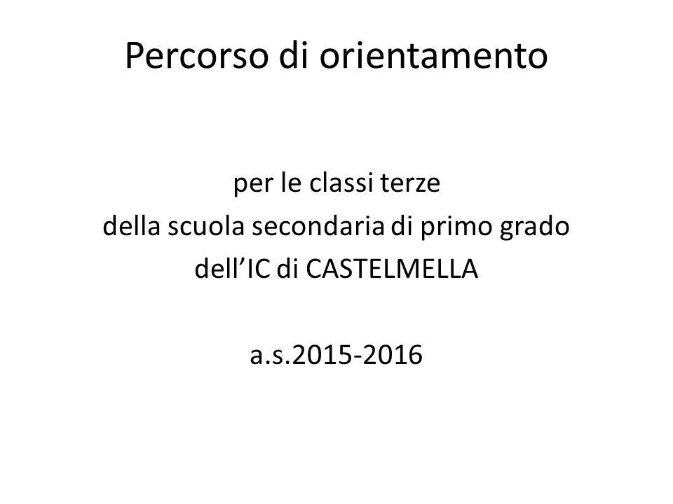 Percorso di orientamento per le classi terze della scuola secondaria di primo grado dell'IC di CASTELMELLA a.s.2015-2016