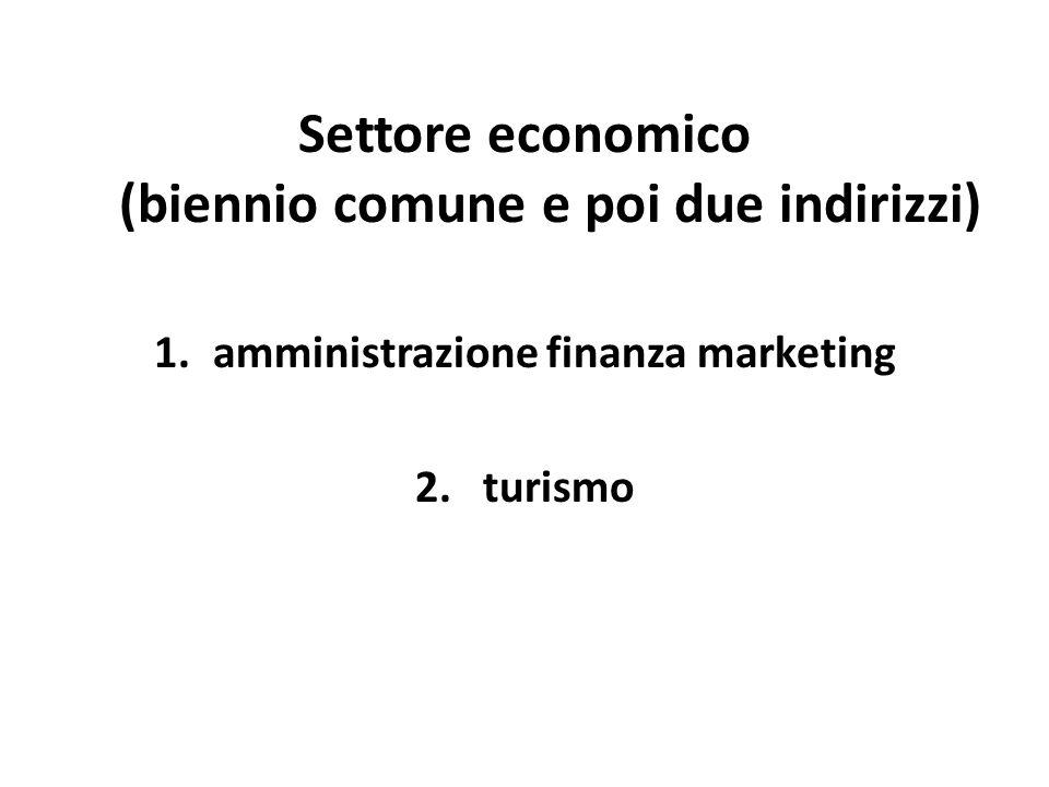 Settore economico (biennio comune e poi due indirizzi) 1.amministrazione finanza marketing 2.