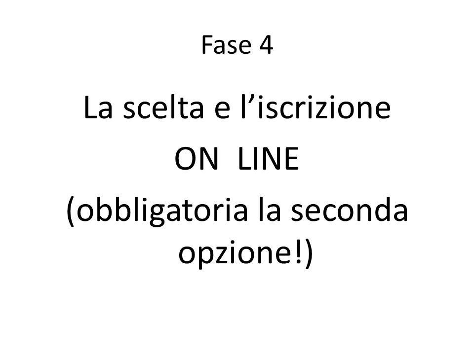 Fase 4 La scelta e l'iscrizione ON LINE (obbligatoria la seconda opzione!)