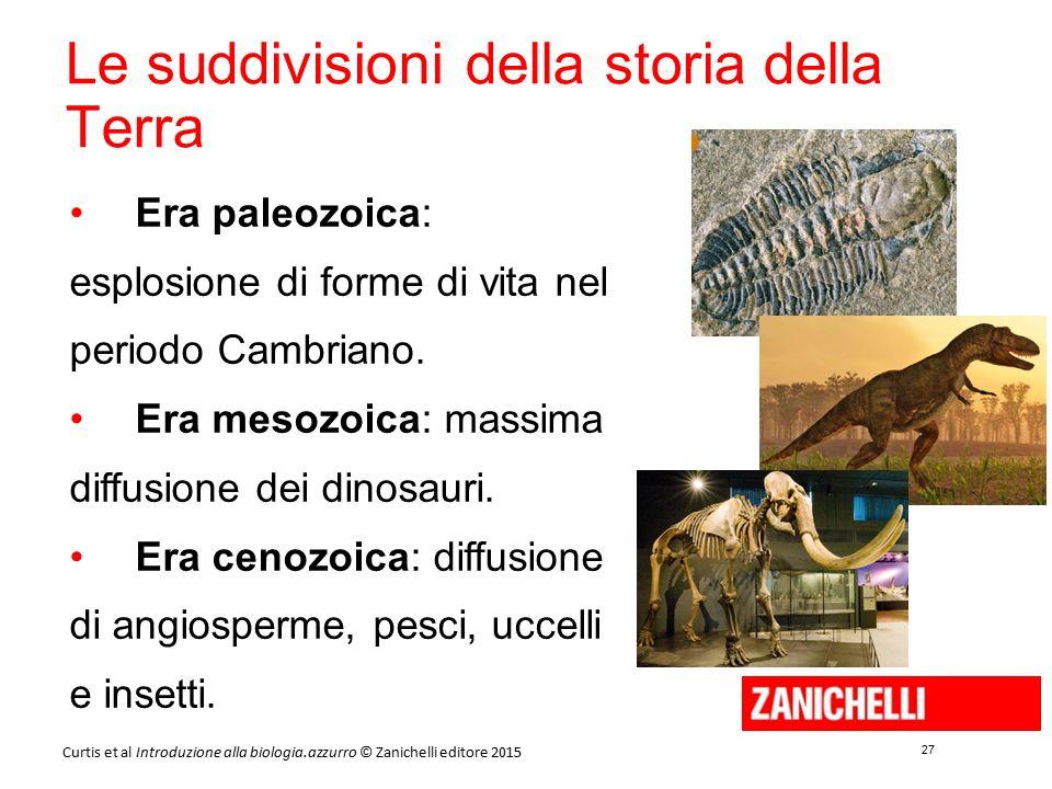 27 Curtis et al Introduzione alla biologia.azzurro © Zanichelli editore 2015 Era paleozoica: esplosione di forme di vita nel periodo Cambriano. Era me