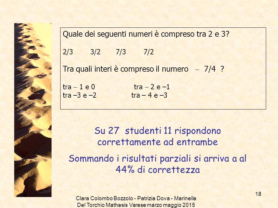 Clara Colombo Bozzolo - Patrizia Dova - Marinella Del Torchio Mathesis Varese marzo maggio 2015 Quale dei seguenti numeri è compreso tra 2 e 3? 2/3 3/