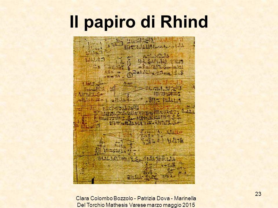 Clara Colombo Bozzolo - Patrizia Dova - Marinella Del Torchio Mathesis Varese marzo maggio 2015 Il papiro di Rhind 23