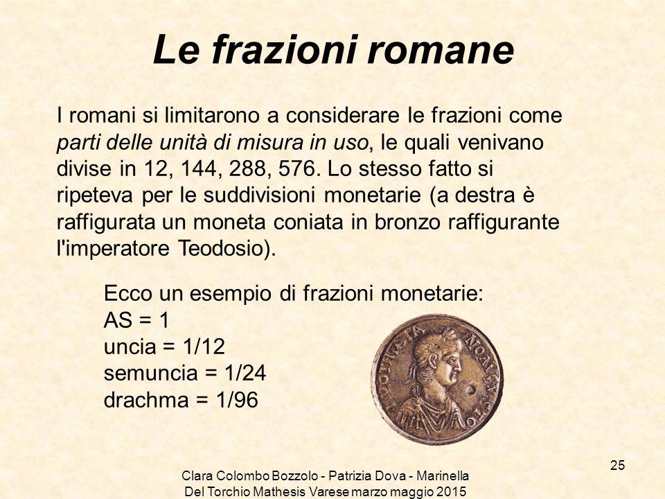 Clara Colombo Bozzolo - Patrizia Dova - Marinella Del Torchio Mathesis Varese marzo maggio 2015 Le frazioni romane I romani si limitarono a considerar