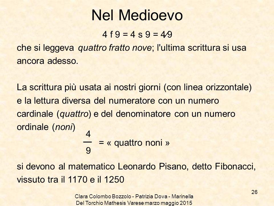 Clara Colombo Bozzolo - Patrizia Dova - Marinella Del Torchio Mathesis Varese marzo maggio 2015 Nel Medioevo 4 f 9 = 4 s 9 = 4⁄9 che si leggeva quattr