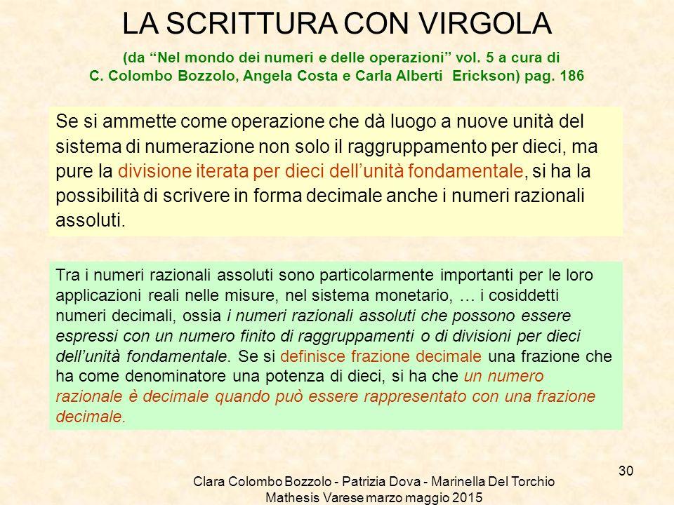 """Clara Colombo Bozzolo - Patrizia Dova - Marinella Del Torchio Mathesis Varese marzo maggio 2015 LA SCRITTURA CON VIRGOLA (da """"Nel mondo dei numeri e d"""
