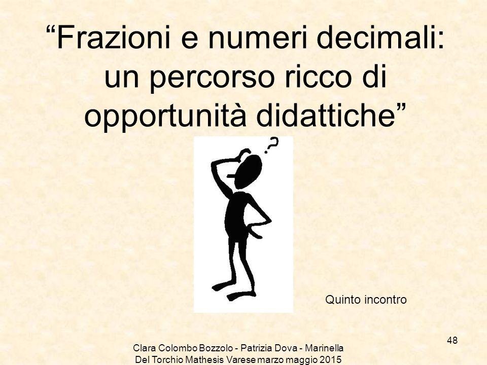 """Clara Colombo Bozzolo - Patrizia Dova - Marinella Del Torchio Mathesis Varese marzo maggio 2015 """"Frazioni e numeri decimali: un percorso ricco di oppo"""
