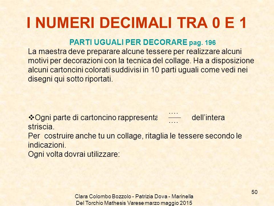 Clara Colombo Bozzolo - Patrizia Dova - Marinella Del Torchio Mathesis Varese marzo maggio 2015 I NUMERI DECIMALI TRA 0 E 1 PARTI UGUALI PER DECORARE