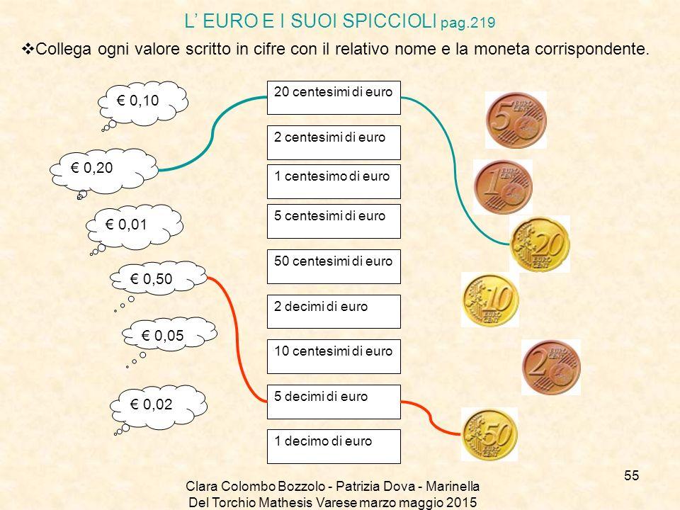 Clara Colombo Bozzolo - Patrizia Dova - Marinella Del Torchio Mathesis Varese marzo maggio 2015 L' EURO E I SUOI SPICCIOLI pag.219  Collega ogni valo