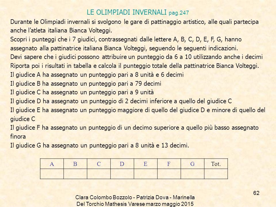Clara Colombo Bozzolo - Patrizia Dova - Marinella Del Torchio Mathesis Varese marzo maggio 2015 LE OLIMPIADI INVERNALI pag.247 Durante le Olimpiadi in