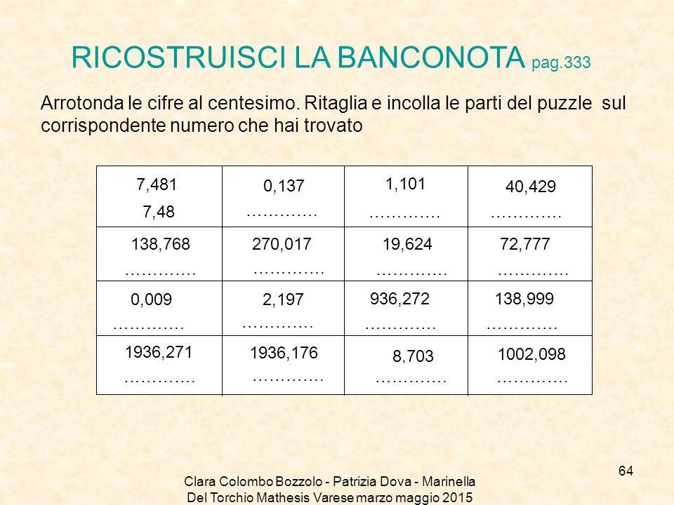 Clara Colombo Bozzolo - Patrizia Dova - Marinella Del Torchio Mathesis Varese marzo maggio 2015 RICOSTRUISCI LA BANCONOTA pag.333 Arrotonda le cifre a
