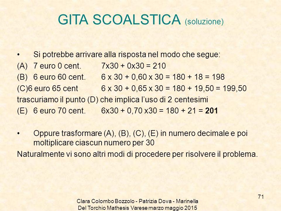 Clara Colombo Bozzolo - Patrizia Dova - Marinella Del Torchio Mathesis Varese marzo maggio 2015 GITA SCOALSTICA (soluzione) Si potrebbe arrivare alla
