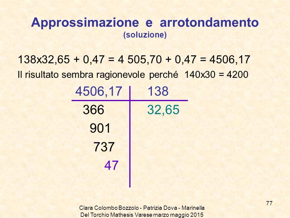 Clara Colombo Bozzolo - Patrizia Dova - Marinella Del Torchio Mathesis Varese marzo maggio 2015 Approssimazione e arrotondamento (soluzione) 138x32,65
