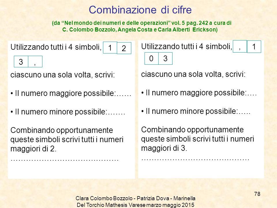 """Clara Colombo Bozzolo - Patrizia Dova - Marinella Del Torchio Mathesis Varese marzo maggio 2015 Combinazione di cifre (da """"Nel mondo dei numeri e dell"""