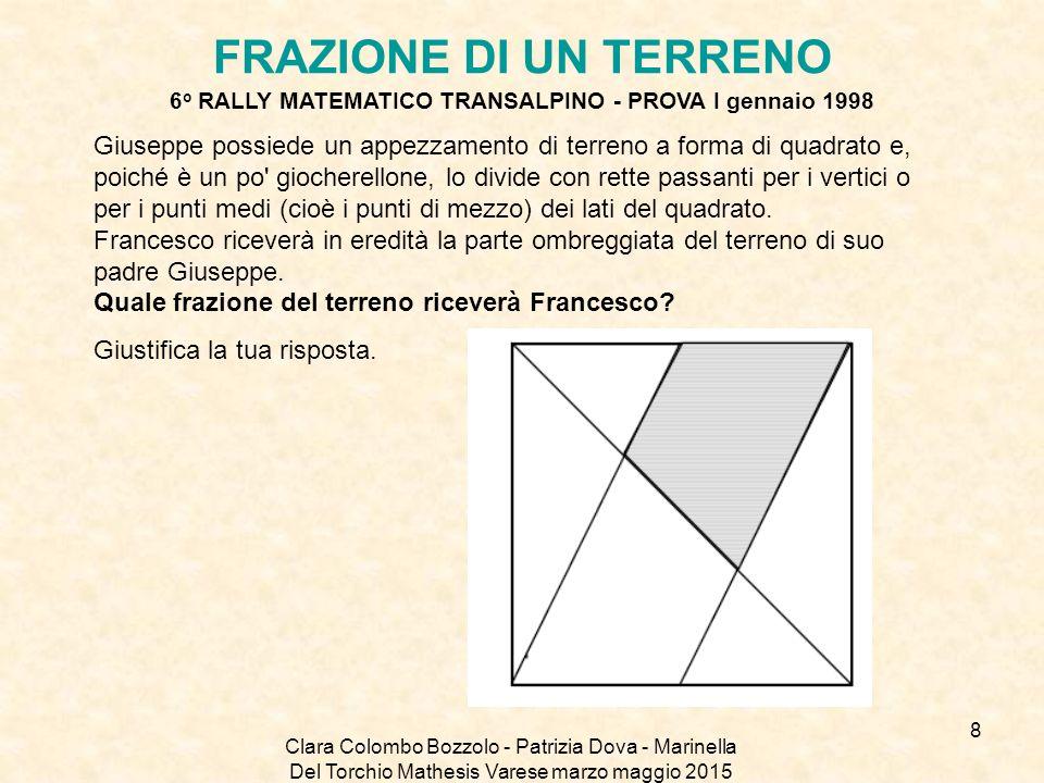 Clara Colombo Bozzolo - Patrizia Dova - Marinella Del Torchio Mathesis Varese marzo maggio 2015 FRAZIONE DI UN TERRENO 6 o RALLY MATEMATICO TRANSALPIN